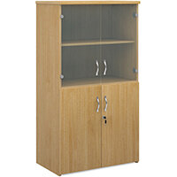 Universal combination unit with glass upper doors 1440mm high with 3 shelves - oak