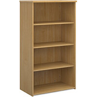 Universal bookcase 1440mm high with 3 shelves - oak