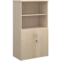 Universal combination unit with open top 1440mm high with 3 shelves - maple