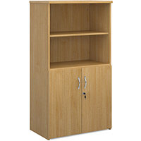Universal combination unit with open top 1440mm high with 3 shelves - oak