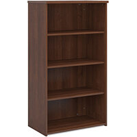 Universal bookcase 1440mm high with 3 shelves - walnut
