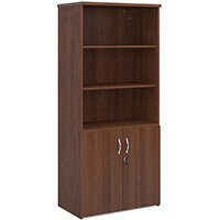 Universal combination unit with open top 1790mm high with 4 shelves - walnut