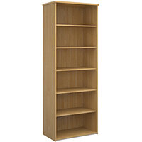 Universal bookcase 2140mm high with 5 shelves - oak