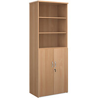 Universal combination unit with open top 2140mm high with 5 shelves - beech