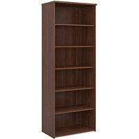Universal bookcase 2140mm high with 5 shelves - walnut