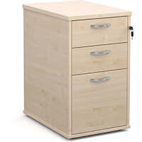 Desk high 3 drawer pedestal with silver handles 600mm deep - maple
