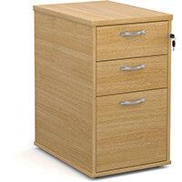 Desk high 3 drawer pedestal with silver handles 600mm deep - oak