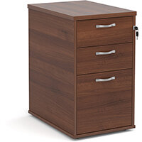 Desk high 3 drawer pedestal with silver handles 600mm deep - walnut