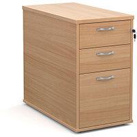 Desk high 3 drawer pedestal with silver handles 800mm deep - beech