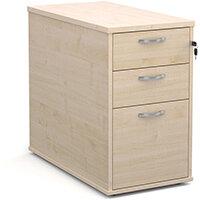 Desk high 3 drawer pedestal with silver handles 800mm deep - maple