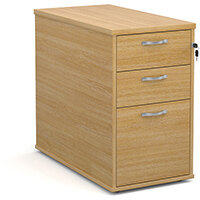 Desk high 3 drawer pedestal with silver handles 800mm deep - oak