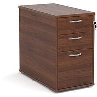 Desk high 3 drawer pedestal with silver handles 800mm deep - walnut