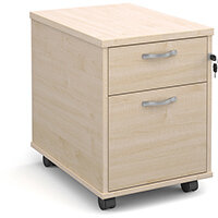 Mobile 2 drawer pedestal with silver handles 600mm deep - maple