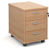 Mobile 3 drawer pedestal with silver handles 600mm deep - beech