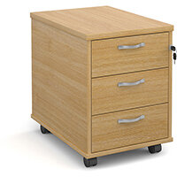 Mobile 3 drawer pedestal with silver handles 600mm deep - oak