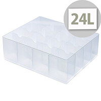 StoreStack Large Tray Clear With Fixed Dividers That Create 16 Compartments. Ideal for Hospitals, Offices, Warehouses, Homes, Schools, Paramedics & More.