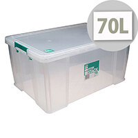 StoreStack 70 Litre Storage Box Clear W660xD450 xH320mm RB90126