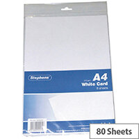 Stephens A4 Card 8 Sheets White Pack of 10 RS045656