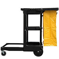 Rubbermaid Cleaning Cart Janitor Cart With 2 Fixed Casters & 2 Swivel Wheels