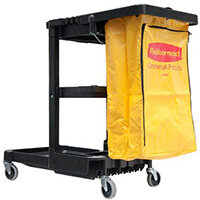 Rubbermaid Janitor Cart with Bag & 4 Swivel Wheels