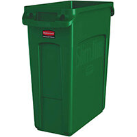 Rubbermaid 60L Slim Jim Plastic Rubbish Bin With Venting Channels Waste Receptacle Green