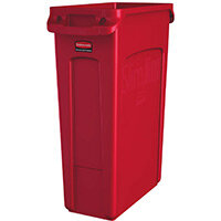 Rubbermaid Slim Jim 87L Waste Container With Venting Channels Red