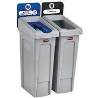 Rubbermaid Slim Jim Recycling Station Bundle 2 Stream Landfill (Black) & Paper (Blue)