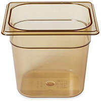 Rubbermaid 1/6 Size 150mm 2.4L Gastronorm GN Food Pan For Hot Food Amber