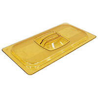Rubbermaid 1/3 Size Gastronorm Hard Cover with Peg Hole For Hot Food Amber