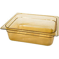 Rubbermaid 1/2 Size 100mm 6L Gastronorm GN Food Pan For Hot Food Amber