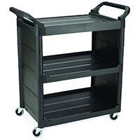 Rubbermaid Light Duty Utility Cart 3 Shelf Service Cart With 2 Closed Sides Black