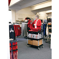 Rubbermaid Light Duty Utility Cart 3 Shelf Service Cart Black