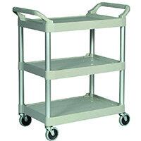 Rubbermaid Light Duty Utility Cart 3 Shelf Service Cart Platinum