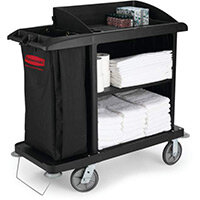 Rubbermaid Medium Housekeeping Service Cart Black