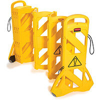 Rubbermaid Mobile Barricade System Portable Mobile Barrier Indoor Use 16 Panels 4m Yellow Expandable Safety Barrier