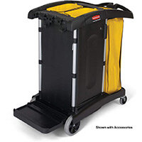 Rubbermaid Service High Capacity Cleaning Cart with Two Caddies Black