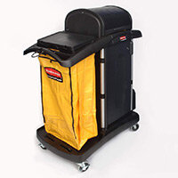 Rubbermaid Housekeeping Service Cart with Color Coded Pails Black
