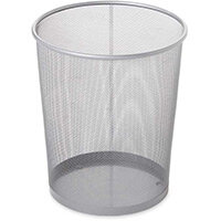 Rubbermaid 19L Concept Collection Round Steel Mesh Open Top Waste Basket Silver