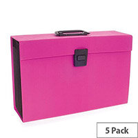 Rexel JOY Expanding Box File Pretty Pink  Pack of 5 - Easily Carry Your Files With 19 Compartments, Secure Latch Closure & Carry Handle. Wipe Clean Linen Texture. Ideal For Use In Schools, Colleges, Offices, Homes & More.
