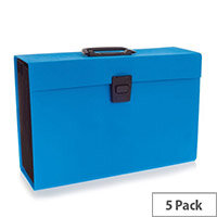 Rexel JOY Expanding Box File Blissful Blue - Easily Carry Your Files With 19 Compartments, Secure Latch Closure & Carry Handle. Wipe Clean Linen Texture. Ideal For Use In Schools, Colleges, Offices, Homes & More.