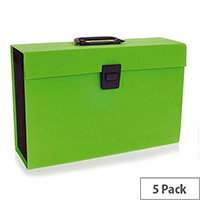 Rexel Joy Expanding Box File Lovely Lime. Easily Carry Your Files With 19 Compartments, Secure Latch Closure & Carry Handle. Wipe Clean Linen Texture. Ideal For Use In Schools, Colleges, Offices, Homes & More. Pack of 5