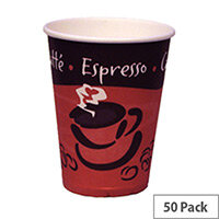 Caterpack Disposable Single Wall Hot Drinks Paper Cups 8oz/250ml [Pack of 50] RY01156