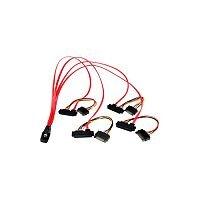 StarTech 50cm Internal Serial Attached SCSI Mini SAS Cable SFF8087 to 4x SFF8482 1 x SFF-8087 Male Mini-SAS 4 x Male SATA Power, 4 x SFF-8482 Mini-SAS Red