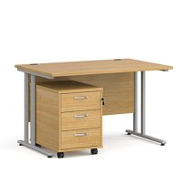 Maestro 25 SL straight desk 1200mm x 800mm with silver cantilever frame and 3 drawer pedestal - oak