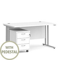 Maestro 25 SL straight desk 1400mm x 800mm with silver cantilever frame and 3 drawer pedestal - white
