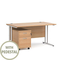 Maestro 25 WL straight desk 1400mm x 800mm with white cantilever frame and 2 drawer pedestal - beech