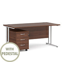 Maestro 25 WL straight desk 1600mm x 800mm with white cantilever frame and 3 drawer pedestal - walnut