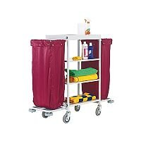 Hotel Housekeeping Service Trolley Cart With 2 Burgundy Laundry Bags 306769