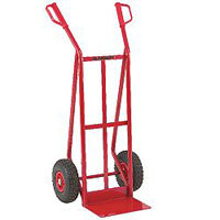 General Purpose Red Hand Truck Pneumatic Wheels Capacity 250kg 308074
