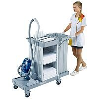 Housekeeping Trolley Cart Grey With Large Base Suitable for 8 to 10 rooms 374981